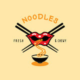 Fresh and chewy noodle logo with mouth eat noodle and chopstick Royalty Free Stock Photos