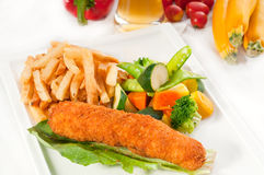 Fresh chicken breast roll and vegetables Stock Photo