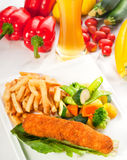 Fresh chicken breast roll and vegetables Royalty Free Stock Photography