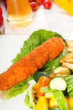Fresh chicken breast roll and vegetables Royalty Free Stock Photos