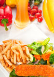 Fresh chicken breast roll and vegetables Royalty Free Stock Image