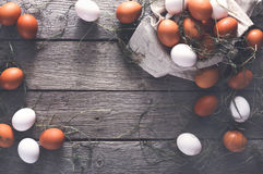 Fresh chicken brown eggs on linen, organic farming background Stock Images