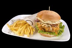 Fresh chicken burger with crispy french fries, on a white plate