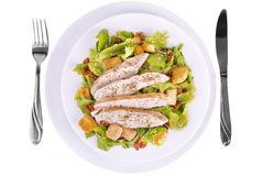 Fresh chicken caesar salad. Isolated on white. Top view Royalty Free Stock Photo