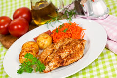 Fresh chicken cutlets on the plate Royalty Free Stock Photos