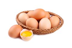 Fresh Chicken eggs in basket, close up stock image