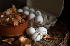 Fresh chicken eggs in a carton and onion peels on wicker basket. royalty free stock photography