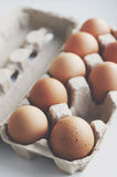 Fresh chicken eggs in a craft box Royalty Free Stock Images