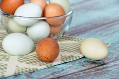 Fresh chicken eggs in a glass bowl Royalty Free Stock Photos