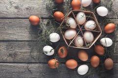 Fresh chicken eggs on linen, organic farming background Stock Photography