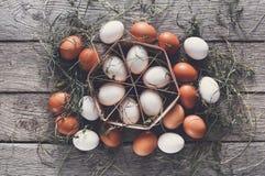 Fresh chicken eggs on linen, organic farming background Royalty Free Stock Photos