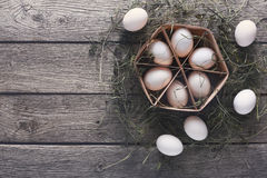 Fresh chicken eggs on linen, organic farming background Royalty Free Stock Image