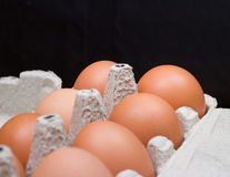 Fresh chicken eggs on the old wood table Stock Photography