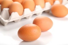 Fresh chicken eggs organic food Royalty Free Stock Images