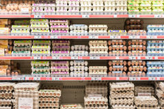 Fresh Chicken Eggs Packages On Supermarket Shelves Royalty Free Stock Photo