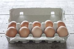 Fresh chicken eggs in paper box. stock photo