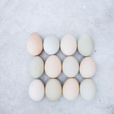 Fresh  chicken eggs on rustic metal background. Organic farming concept. Top view, blank space, vintage toned image Stock Photo