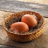 Fresh chicken eggs Stock Photos