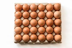 Fresh chicken eggs on a white background. Fresh chicken eggs in the wrapping several eggs laid on a white background Royalty Free Stock Photo