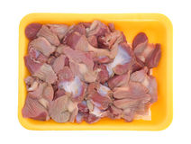 Fresh chicken gizzards and hearts on a foam tray Stock Image