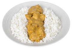 Fresh Chicken Indian Curry with White Basmati Rice. A DSLR royalty free image, of Indian Chicken Curry with white basmati rice, served on a white plate, shot Royalty Free Stock Images