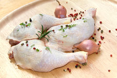 Fresh Chicken Leg With Cress And Peppercorn.  Stock Image