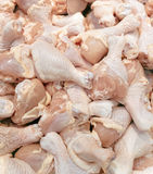 Fresh chicken legs for sale in supermarket Stock Photography