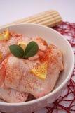 Fresh chicken with lemon slices Stock Photo