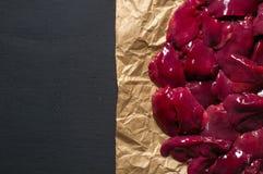 Fresh chicken liver on kraft paper. Chicken liver on kraft paper Royalty Free Stock Image