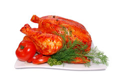 Fresh chicken. Marinated, on a white background Royalty Free Stock Photography