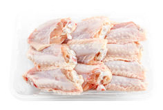 Fresh Chicken middle wings in package. Isolate Stock Image