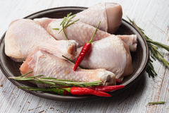 Fresh chicken on plate Stock Photos