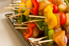 Fresh Chicken shish kebab. With vegetables on the trey Stock Images