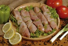 Fresh chicken skewer Stock Images