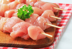 Fresh chicken skewers. On cutting board Royalty Free Stock Images