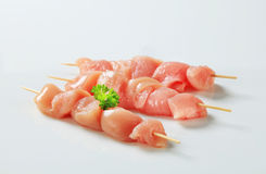 Fresh chicken skewers. Pieces of raw chicken meat on skewers stock photos