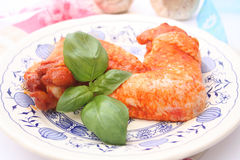 Fresh chicken. Some fresh chicken wings with spices royalty free stock photos