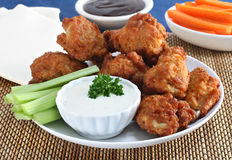 Fresh Chicken Wings with Vegetables and Sauce Stock Images