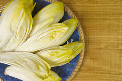 Fresh Chicory Salad leaves placed on a blue plate. On wooden background copy space Stock Photos