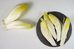 Fresh Chicory Salad leaves placed on a grey stone board. On white background Stock Image