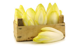 Fresh chicory in a wooden crate Royalty Free Stock Image