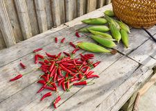 Fresh chili and corn on wooden table. Stock Photo