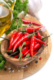 Fresh chili pepper garlic, spices and oil on a wooden board Royalty Free Stock Photos