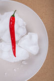 Fresh chili pepper with ice on plate Royalty Free Stock Images