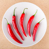 Fresh chili peppers on plate. Fresh raw red hot chili peppers on plate, over light wooden background Royalty Free Stock Photos