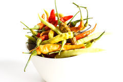 Fresh chili peppers on white background. Isolate Stock Image