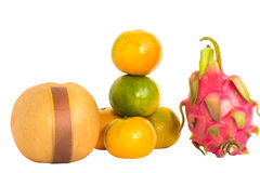Fresh chinase orange with dragon fruit isolated Royalty Free Stock Photography