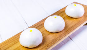 Fresh Chinese Bun on wooden tray Stock Image
