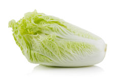 Fresh chinese cabbage on a white background. Closeup fresh chinese cabbage on a white background Royalty Free Stock Image