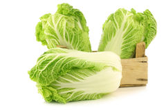 Fresh chinese cabbage in a wooden crate Stock Image